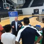 Leonard Bevill speaks to players during Pro Day at Georgia State University